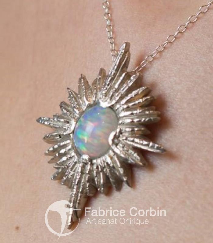 Pendentif Etoile Opale argent massif